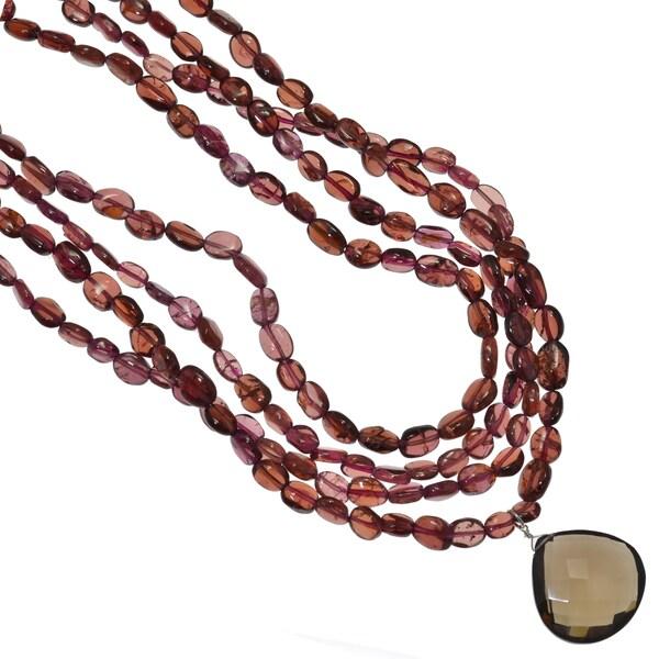Ashanti Sterling Silver Smokey Quartz and Garnet Gemstone Handmade Necklace (Sri Lanka)