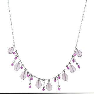 Ashanti Sterling Silver Rose Quartz and Hot Pink Quartz Gemstone Handmade Necklace (Sri Lanka)