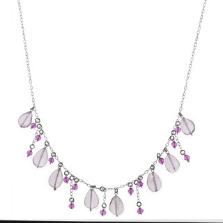 Ashanti Sterling Silver Rose Quartz and Hot Pink Quartz Gemstone Handmade Necklace (Sri Lanka)
