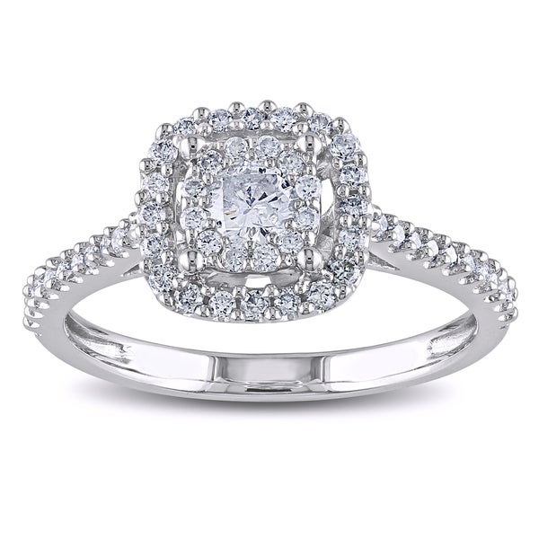 Miadora 10k White Gold 1/2ct TDW Certified Diamond Halo Promise Engagement Ring (G-H, I1-I2)