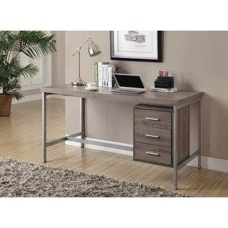 Dark Taupe Reclaimed Look Silver Metal Office Desk