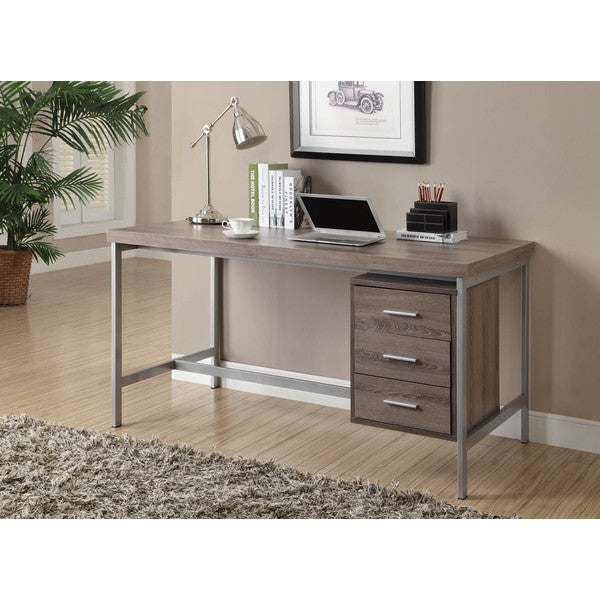 Dark Taupe Reclaimed Look Silver Metal Office Desk - Free Shipping