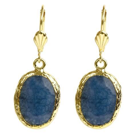 ELYA Goldplated Brass Blue Dyed Chalcedony Earrings