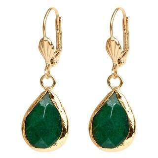 ELYA Goldplated Brass Green Dyed Chalcedony Earrings