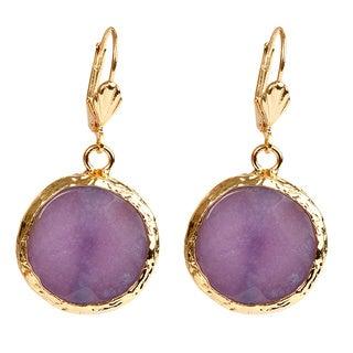 ELYA Goldplated Brass Amethyst Earrings