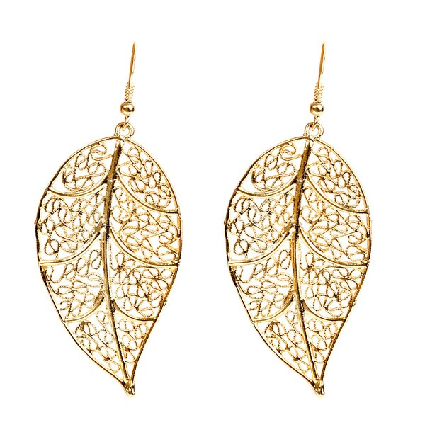 ELYA Goldplated Brass Antiqued Filigree Leaf Earrings