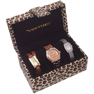 Vernier 3-Piece Leopard Box Watch Set