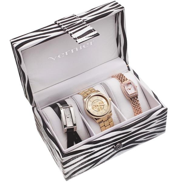 Vernier 3-Piece Watch Set in Zebra Print Box