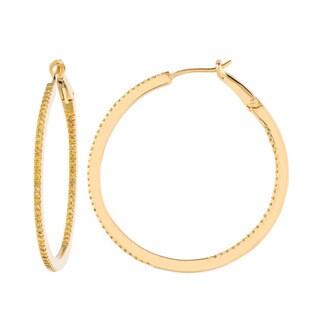 Gold over Silver 3/5ct TDW Yellow Diamond Hoop Earrings