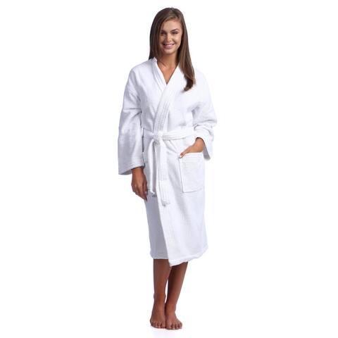 Classic White Turkish Cotton Belted Kimono Bath Robe with 2 Pockets
