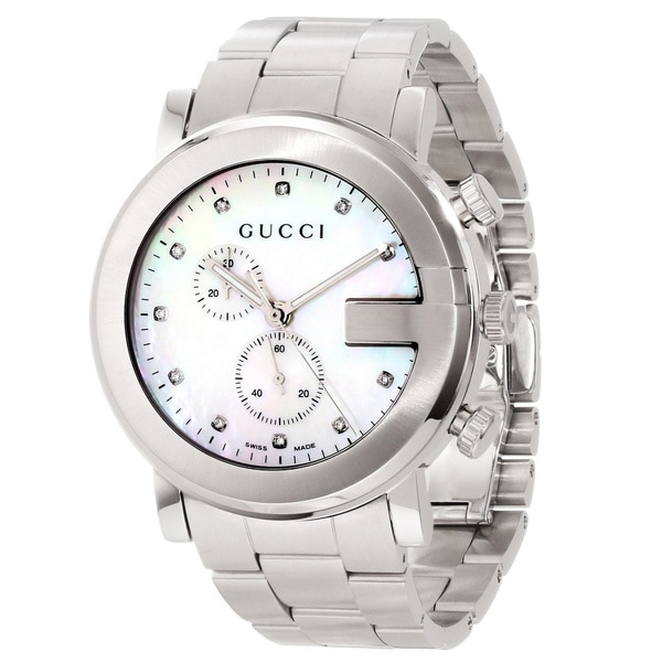 44dd9547a22 Shop Gucci Women s  G-Chrono  Mother of Pearl Dial Diamond-accented Watch -  Free Shipping Today - Overstock - 8335297