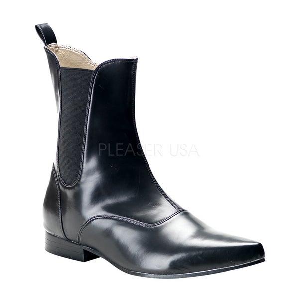 Demonia Men's 'Brogue-02' Black Winkle-picker Beatle Ankle Boots