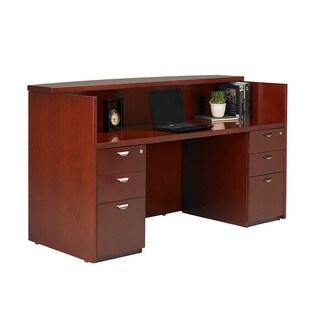 Mayline Mira Reception Station with Double Pedestal, Box/Box/File and Box/Box/File