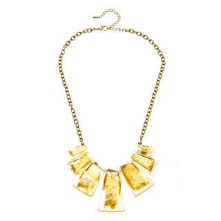 Alexa Starr Goldtone Gold Fleck Lucite Bib Necklace