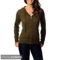 Ply Cashmere Women's Zip-front Hooded Sweater
