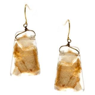 Alexa Starr Goldtone Gold Fleck Lucite Drop Earrings