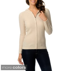 Ply Cashmere Women's Cashmere Zip-front Hoodie