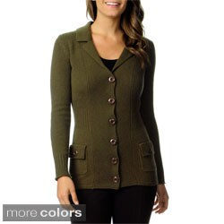 Ply Cashmere Women's Long Sleeve Button-up Cardigan
