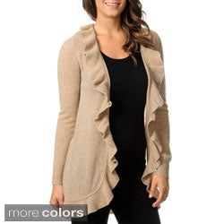 Ply Cashmere Women's Long Sleeve Ruffled Duster Cape
