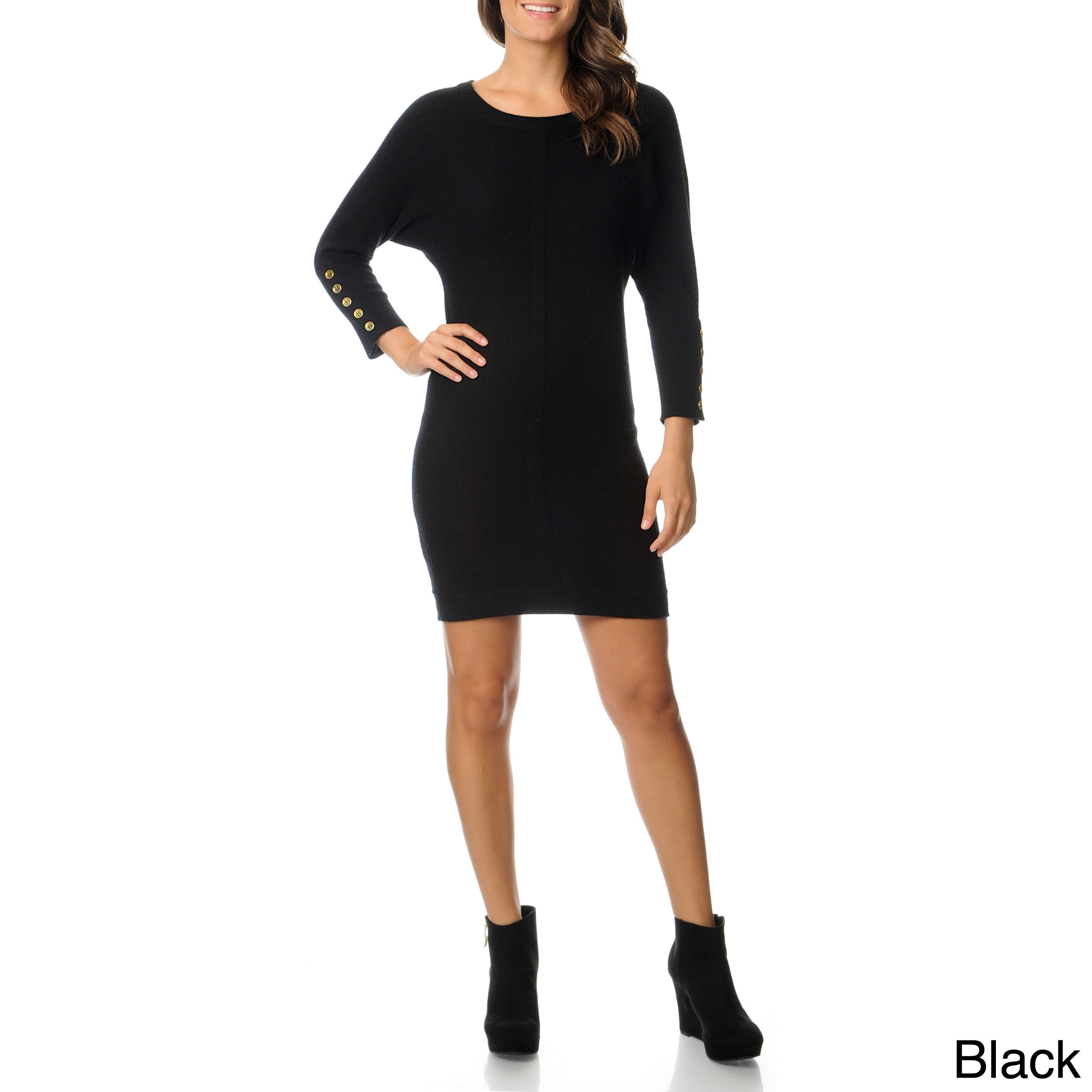 Republic Clothing Ply Cashmere Womens Boat Neck Sweater Dress Black Size XS (2  3)