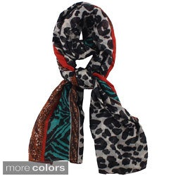 LA77 Multicolored Animal Print Scarf