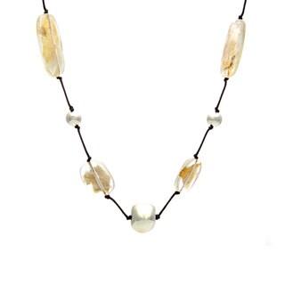 Alexa Starr Goldtone Fleck Lucite Cord Necklace