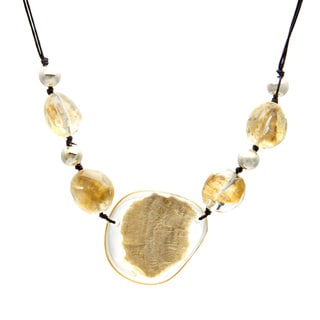 Alexa Starr Goldtone and Black Cord Gold Fleck Lucite Necklace