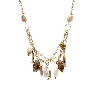 Alexa Starr Goldtone Lucite Nugget 3-row Chain Necklace