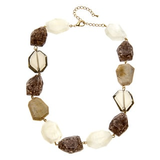 Alexa Starr Goldtone Natural-colored Lucite Nugget Necklace
