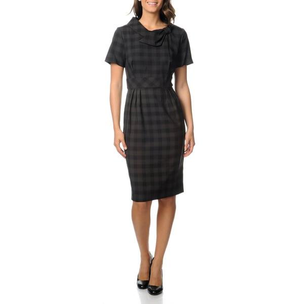 Julian Taylor Women's Charcoal Plaid Career Dress