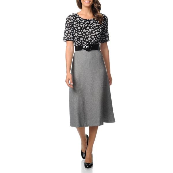 Julian Taylor Women's Black and Grey 2fer Full Skirt Dress
