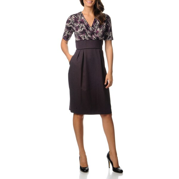 Julian Taylor Women's Purple and Black Career Dress