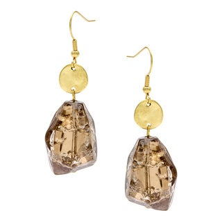 Alexa Starr Goldtone Brown Lucite Nugget Drop Earrings
