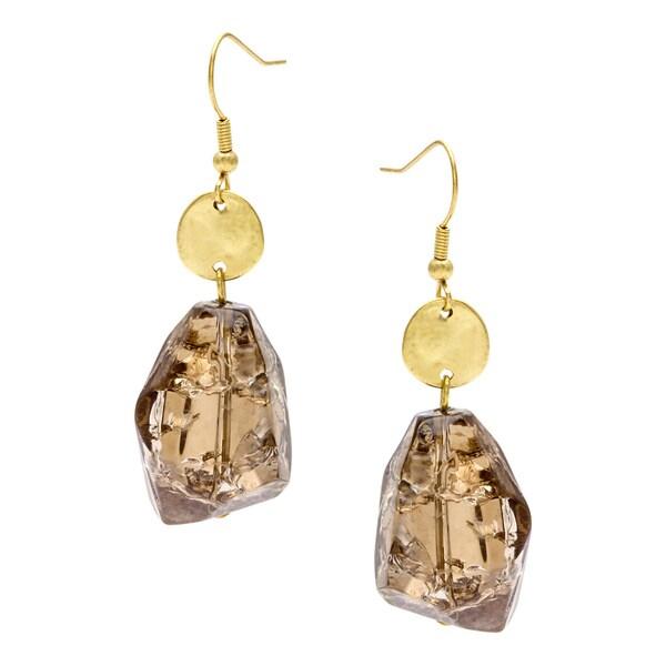 Alexa Starr Goldtone Brown Lucite Nugget Drop Earrings