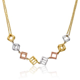 Riccova Tri-color Gold Overlay Cube Double Strand Necklace