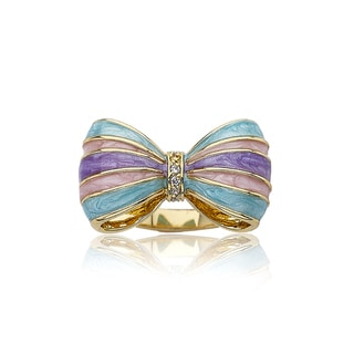 Little Miss Twin Stars 14k Goldplated Children's CZ and Enamel Bow Ring