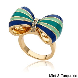 Little Miss Twin Stars 14k Goldplated Children's CZ and Enamel Bow Ring (More options available)