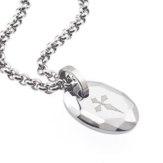 Tungsten and Steel Men's Engraved Cross Oval Necklace By Ever One