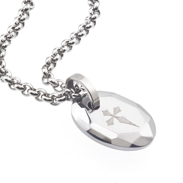 tungsten and steel men 39 s engraved cross oval necklace by. Black Bedroom Furniture Sets. Home Design Ideas