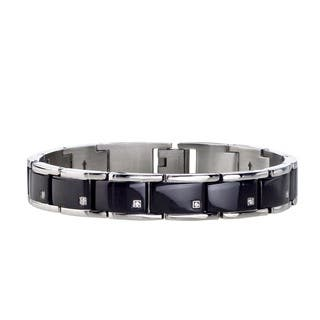Men's Stainless Steel 1/10ct Diamond Bracelet with Black ION Plating By Ever One (H-I, I2-I3)|https://ak1.ostkcdn.com/images/products/8335491/P15647251.jpg?impolicy=medium