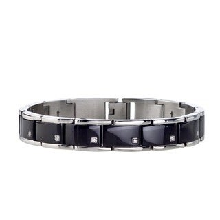 Men's Stainless Steel 1/10ct Diamond Bracelet with Black ION Plating By Ever One (H-I, I2-I3)