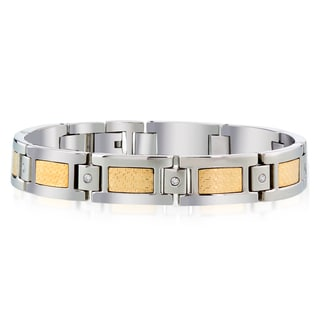 18kt Gold Foil 1/6ct TDW Stainless Steel Bracelet