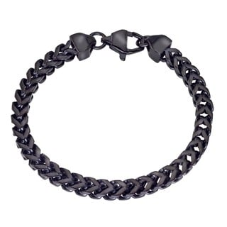 Men's Black Stainless Steel Square Wheat Chain Bracelet By Ever One