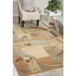 Nourison Modesto Abstract Beige Area Rug (7'10 x 10'6)