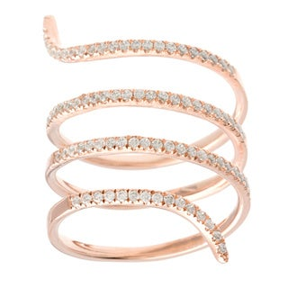 18k Rose Gold over Silver Cubic Zirconia Snake Coil Ring