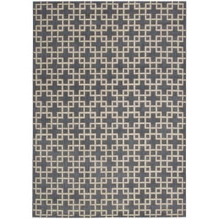kathy ireland Hollywood Shimmer Architectural Times Square Steel Area Rug by Nourison (5'3 x 7'5)