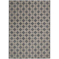 kathy ireland Hollywood Shimmer Architectural Times Square Steel Area Rug by Nourison - 5'3 x 7'5