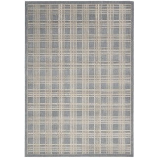 kathy ireland Hollywood Shimmer Americana Mission Craft Blue Area Rug by Nourison (3'9 x 5'9)