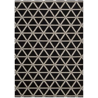 kathy ireland Hollywood Shimmer Architectural Motor Crossing Onyx Area Rug by Nourison (5'3 x 7'5)