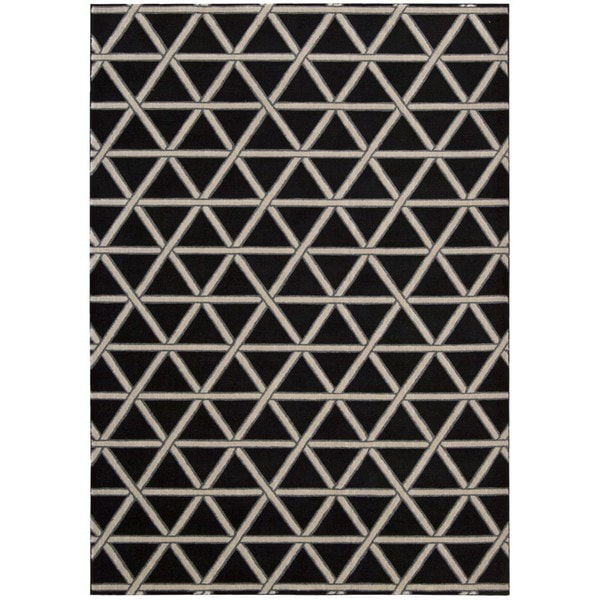 kathy ireland Hollywood Shimmer Architectural Motor Crossing Onyx Area Rug by Nourison - 5'3 x 7'5